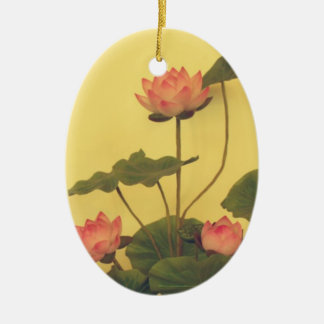 Pink Lotus flowers Double-Sided Oval Ceramic Christmas Ornament