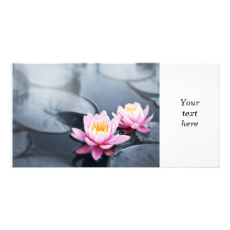 Pink lotus flowers photo card template