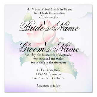 Pink Lotus Flowers Watercolor 5.25x5.25 Square Paper Invitation Card