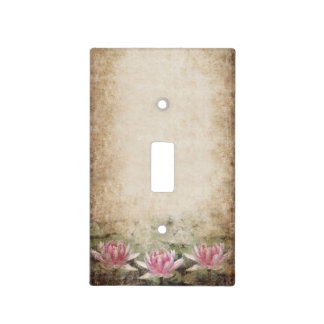 Pink Lotus Grunge Light Switch Cover