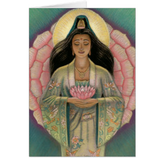 """Pink Lotus Heart"" Kuan Yin Greeting Card"