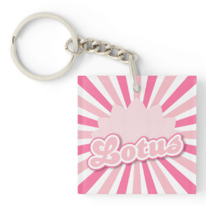 Pink Lotus hot pink sun rays Keychain