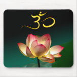 Pink Lotus in full bloom with Om, mousepad