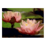 Pink Lotus in Oils ACEO Business Cards