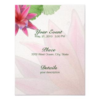 Pink Lotus Invitation Linen Paper 4.25 x 5.5