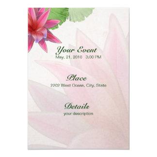 Pink Lotus Invitation Linen Paper 5 x 7