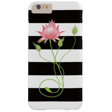 dancingpelican Pink Lotus Modern Stripe Floral Barely There iPhone 6 Plus Case