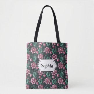 Pink Lotus motif elegant floral pattern Tote Bag
