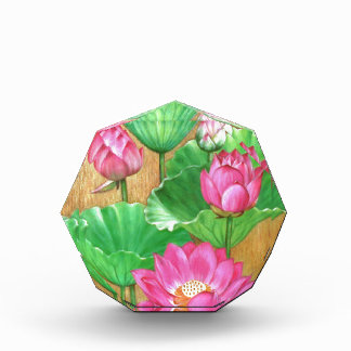 Pink lotus on gold paint background acrylic award
