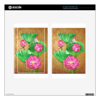 Pink lotus on gold paint background decals for kindle fire