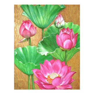 Pink lotus on gold paint background letterhead