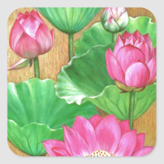 Pink lotus on gold paint background square sticker