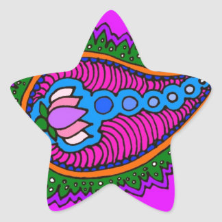 Pink lotus paisley star sticker