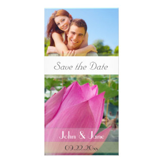 """Pink Lotus /photo  """"Save the Date"""" Card"""