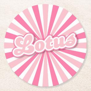 Pink Lotus Round Paper Coaster