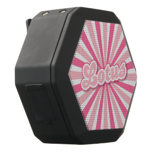 Pink Lotus solar rays Black Bluetooth Speaker