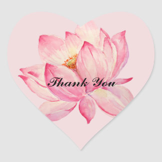 Pink Lotus Thank you Heart Sticker