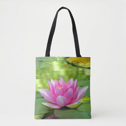 Pink Lotus Water Lily Flower Floral Tote Bag