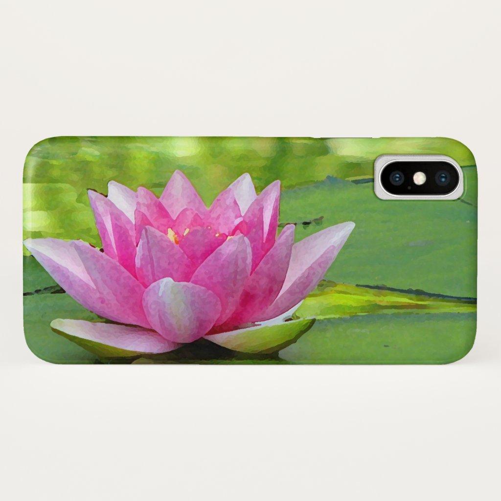 Pink Lotus Water Lily Flower Garden iPhone X Case