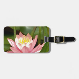Pink lotus water lily flower luggage tag