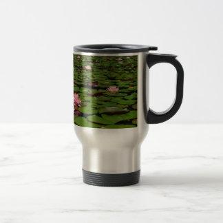 Pink lotus water lily flower pond travel mug