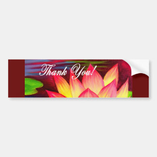 Pink Lotus Water Lily Flower Thank You - Multi Car Bumper Sticker