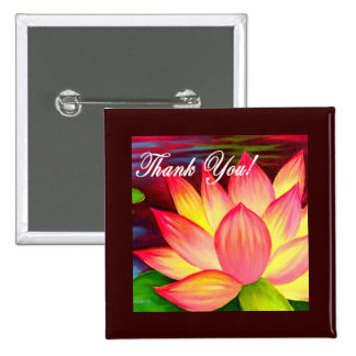 Pink Lotus Water Lily Flower Thank You - Multi Button