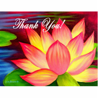 Pink Lotus Water Lily Flower Thank You - Multi Cutout