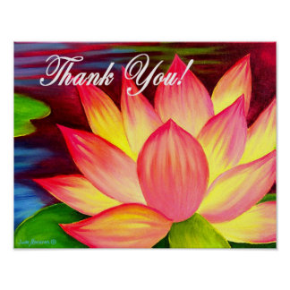 Pink Lotus Water Lily Flower Thank You - Multi Poster