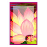 Pink Lotus Water Lily Flowers Painting Stationary Stationery Paper
