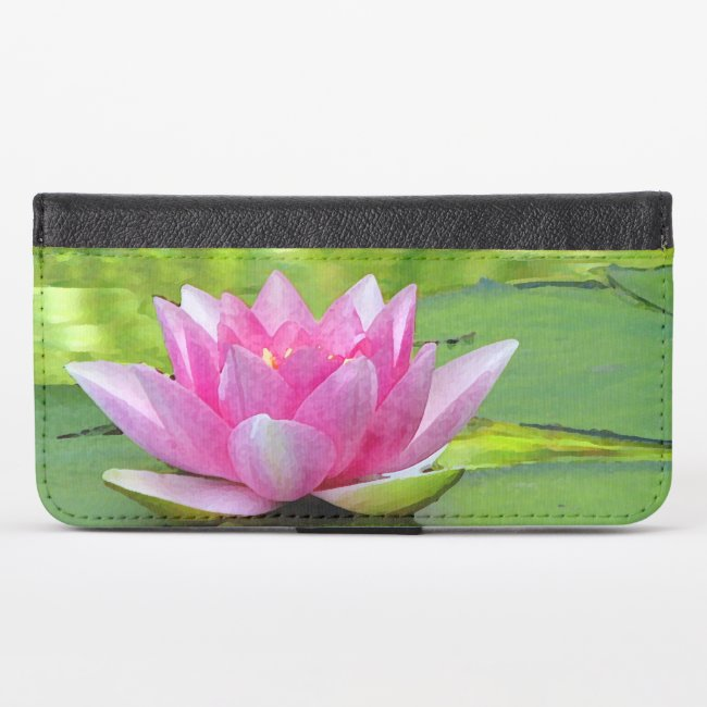 Pink Lotus Water Lily iPhone X Wallet Case