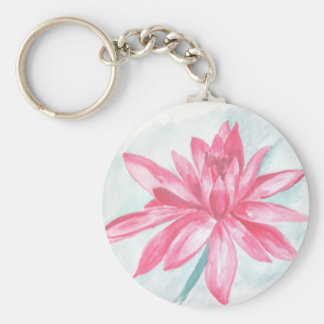 pink lotus watercolor painting keychains