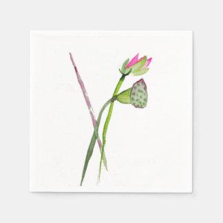 Pink Lotus watercolour Zen Buddhist art Napkin