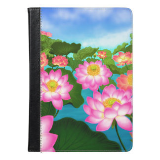 Pink Lotus Waterlily Flowers iPad Folio Case