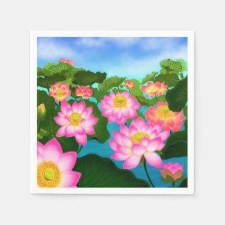 Pink Lotus Waterlily Flowers Paper Napkins