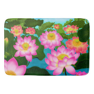 Pink Lotus Waterlily Garden Bath Mat