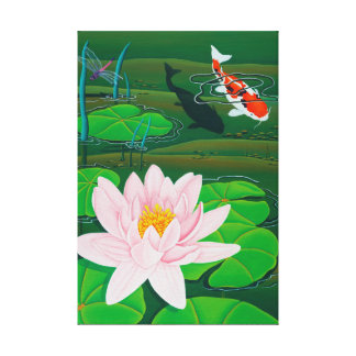 Pink Lotus with Koi Canvas Print