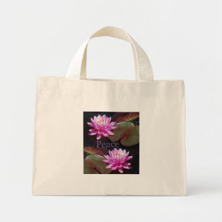 Pink Lotus with Peace Mini Tote Bag