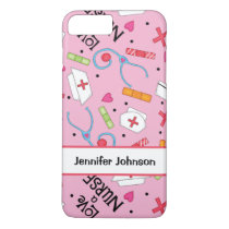 Pink Love a Nurse Art Name Personalized iPhone 8 Plus/7 Plus Case