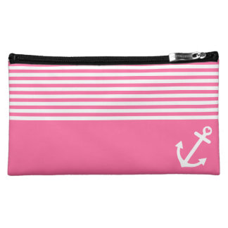 Pink Love Anchor Nautical Makeup Bags
