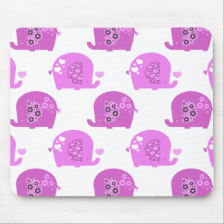 Pink Love Baby Elephants Pattern Mouse Pad
