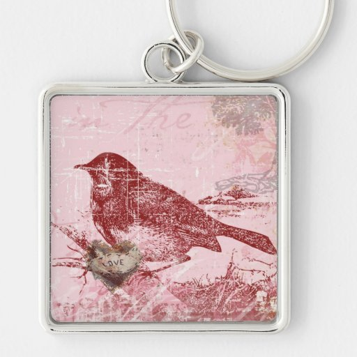 Pink Love Bird Silver-Colored Square Keychain