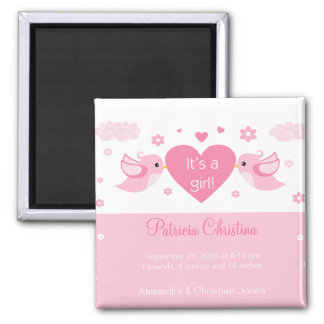 Pink Love Birds Baby Birth Announcement 2 Inch Square Magnet