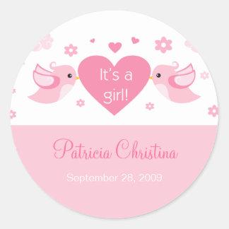 Pink Love Birds Baby Birth Announcement Classic Round Sticker