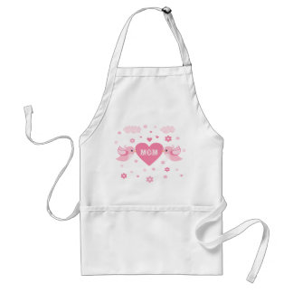 Pink Love Birds Heart Baby Adult Apron