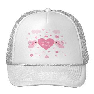 Pink Love Birds Heart Baby Trucker Hat