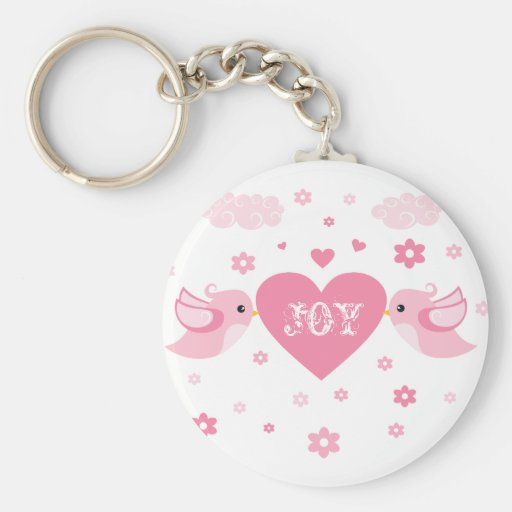 Pink Love Birds Heart Baby Key Chains