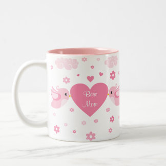 Pink Love Birds Heart Baby Two-Tone Coffee Mug