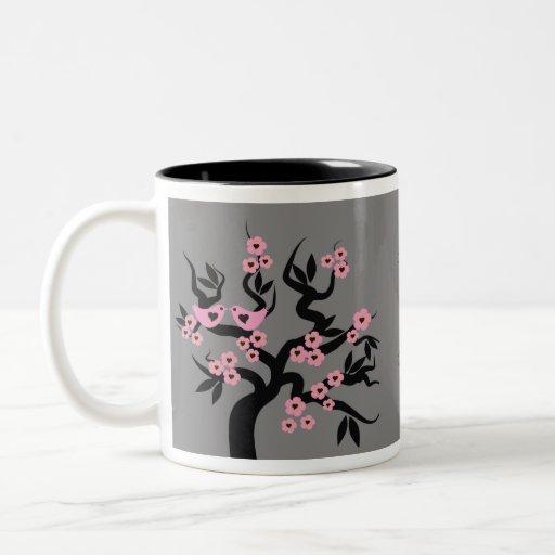 Pink Love Birds On Sakura Tree Mugs