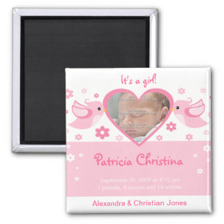 Pink Love Birds Photo Baby Birth Announcement 2 Inch Square Magnet